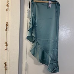 Green Ruffled High Low Skirt